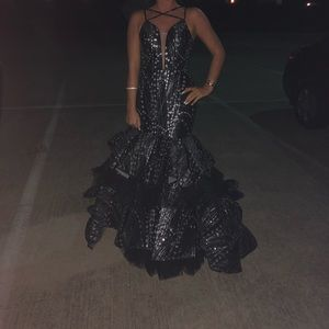 Black n silver ball gown with train